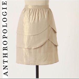Anthropologie Edme&Esyllte gold scalloped skirt